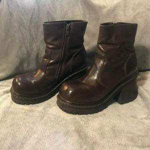 Brown Chunky Block Heel Soda Brand 90s Boots